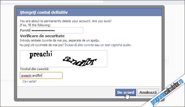 Șterge contul de Facebook