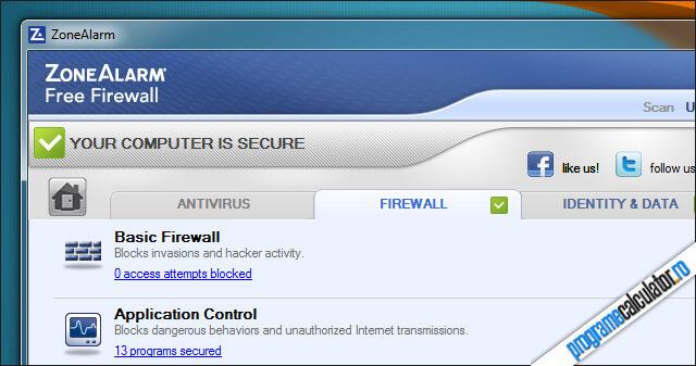 Firewall gratuit pentru Windows - ZoneAllarm