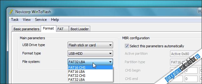 Formatarea USB ului cu WinToFlash