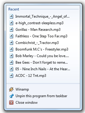 Integrare Winamp in Windows 7 JumpList