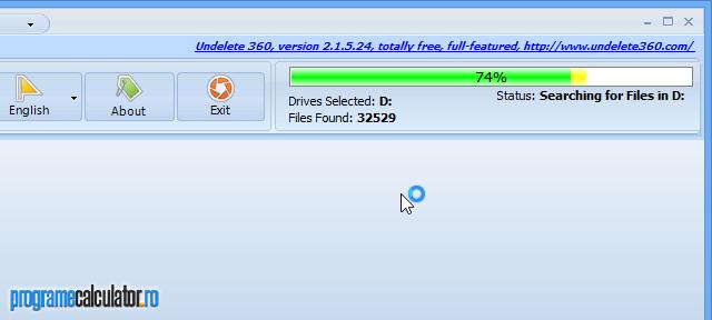 Programul de recuperat date șterse, scanează partitia