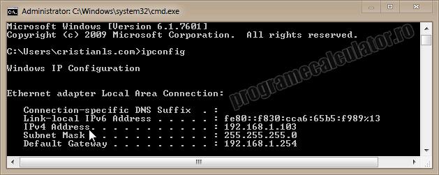 Cum aflu adresa IP a propriului calculator