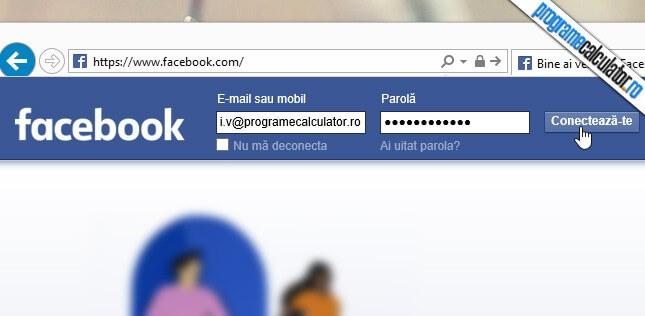 autentificarea in contul facebook