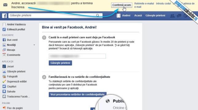 confirmarea adresei de email pentru activarea contului facebook