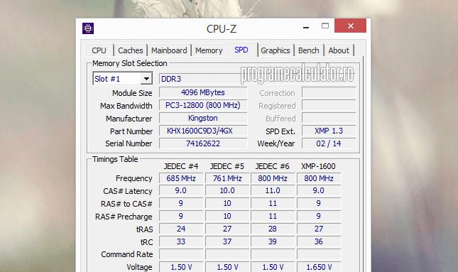 cpu-z - informatii despre procesor grafica si memoria ram