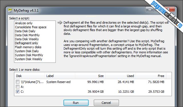 defragmentarea hard disk-ului calculatorului