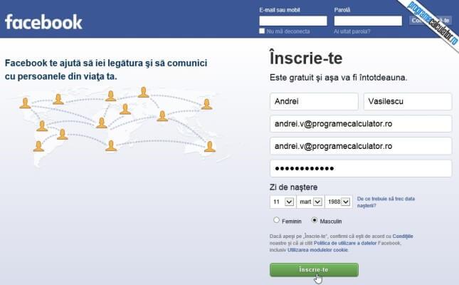 formular de creare a contului facebook
