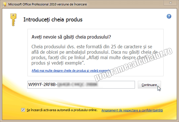 Licenta / Serial Microsoft Office Professional 2012