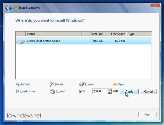 """Manual de instalare Windows 7 - Crearea partitiei """"C"""" - Alocare spatiu"""