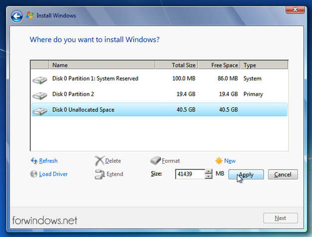 "Manual de instalare Windows 7 - Alocare spatiu partitia ""D"""