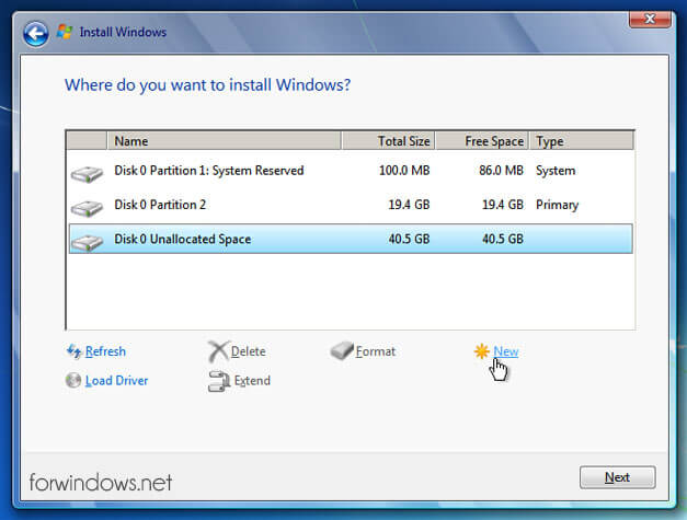 "Manual de instalare Windows 7 - Creare partitia ""D"""