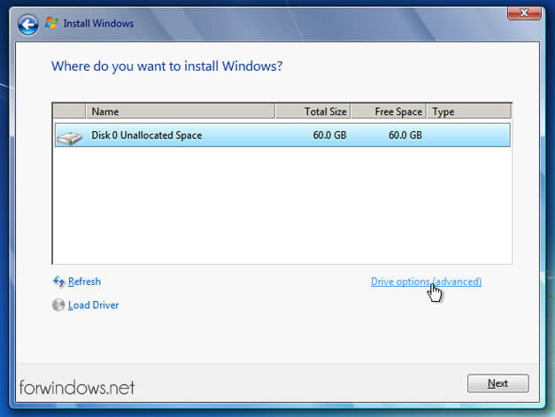 Manual de instalare Windows 7 - Creare Partitii