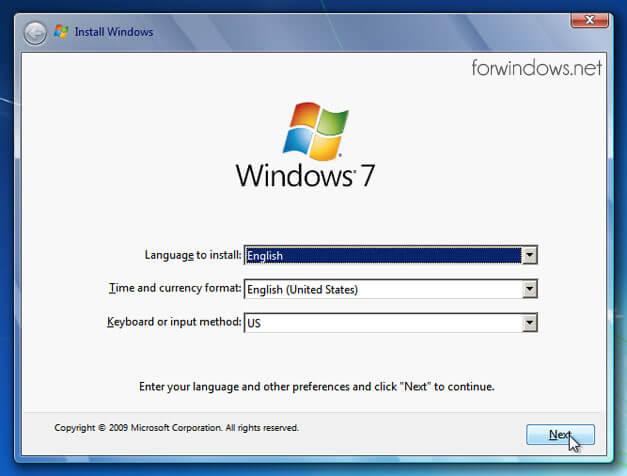 Manual de instalare Windows 7 - Selectare limba si tastatura utilizata