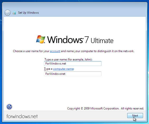 Manual de instalare Windows 7 - Nume de utilizator & Nume computer