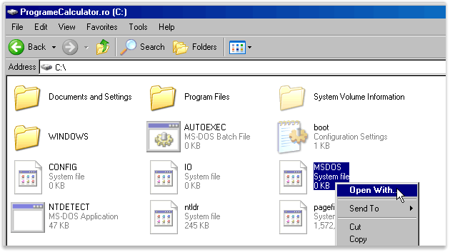 MSDOS » open with