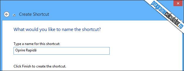 oprire shortcut