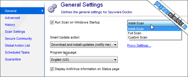 optimiuni generale PC Tools Spyware Doctor
