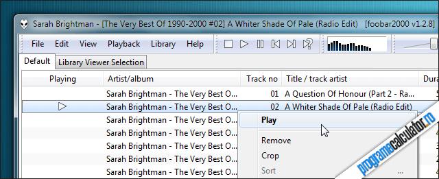 Program de ascultat muzica - foobar2000