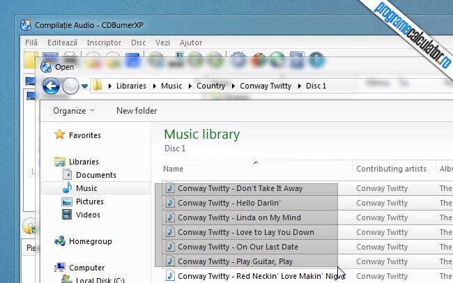 program de inregistrat cd si dvd - selectarea fisierelor