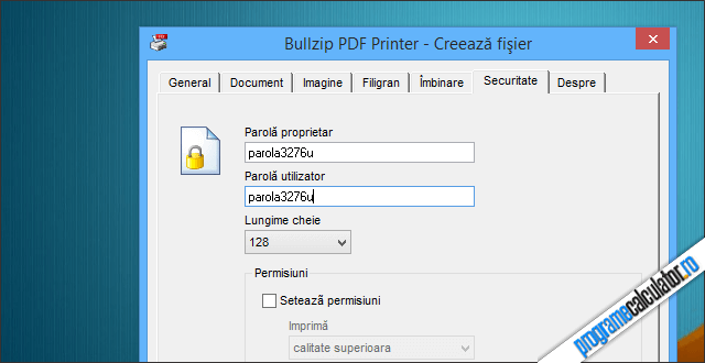 setare parola document PDF