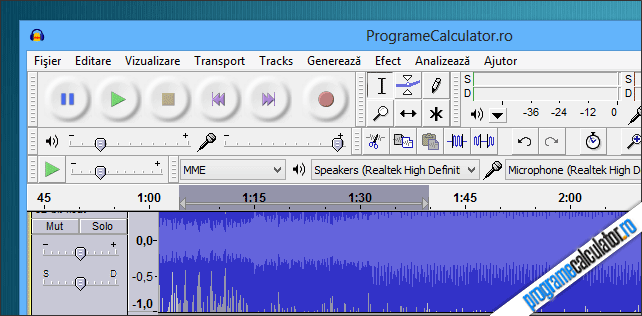 Audacity: program de modificat melodii