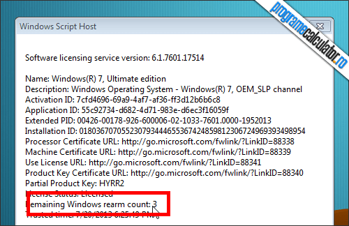 Cum se activeaza Windows: Numar rearmari