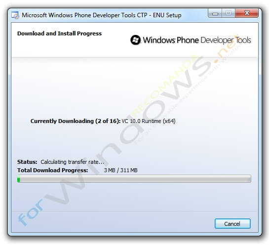 Instalarea pachetului Windows Phone Developer Tools