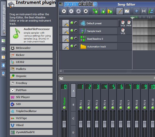 Instrumentele acestui program de făcut muzică