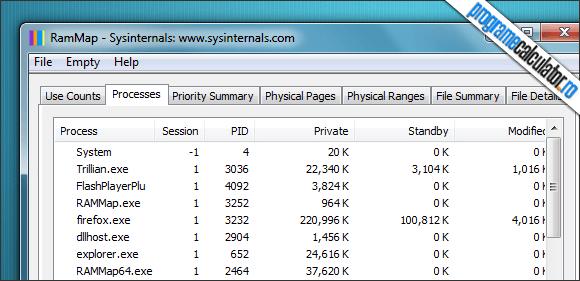 RamMap monitorizare procese