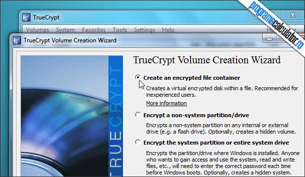 TrueCrypt Wizard criptare date