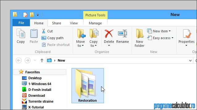 folderul fișierelor restaurate