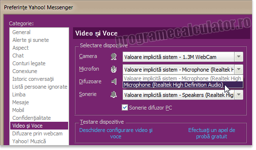 nu merge / functioneaza microfonul in Yahoo! Messenger