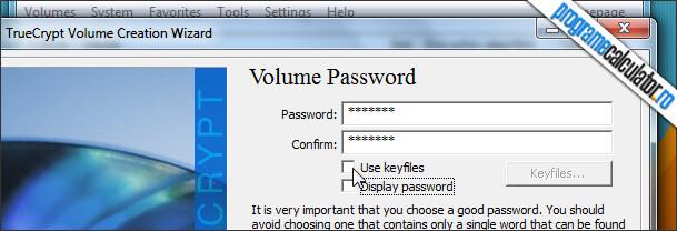 parola de acces la containerul cu datele criptate