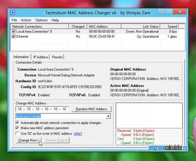 Program de schimbat adresa MAC a calculatorului