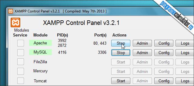 server web pentru probe XAMPP