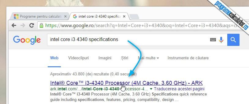 specificatii procesor