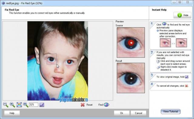 Elimină efectul de ochi roșii