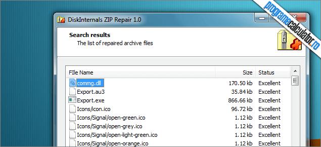 continutul arhivei zip