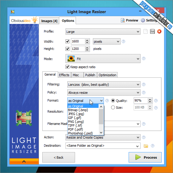 Light Image Resizer: Optiuni de redimensionare