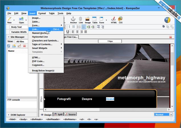 program gratuit de facut pagini web inserare elemente