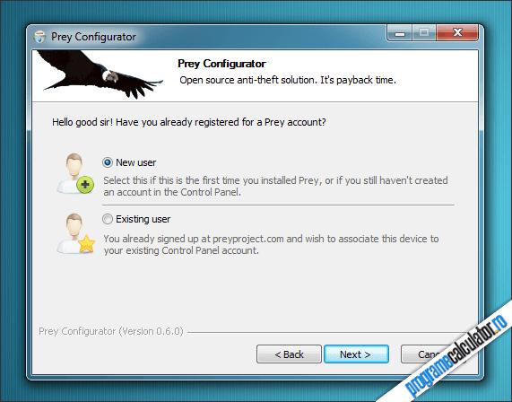 Prey Configurator: crearea unui cont nou