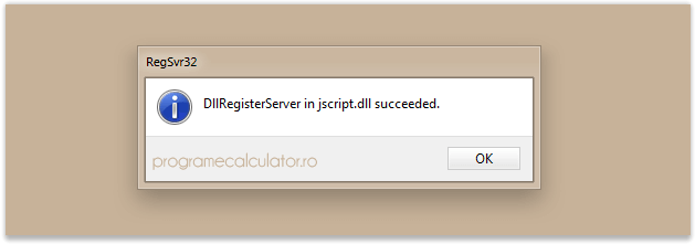 DllRegisterServer in jscript.dll succeeded