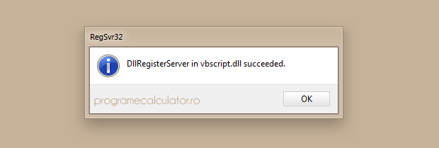 DllRegisterServer in vbscript.dll succeeded