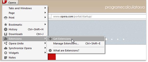 Cum se instalează extensiile în Opera
