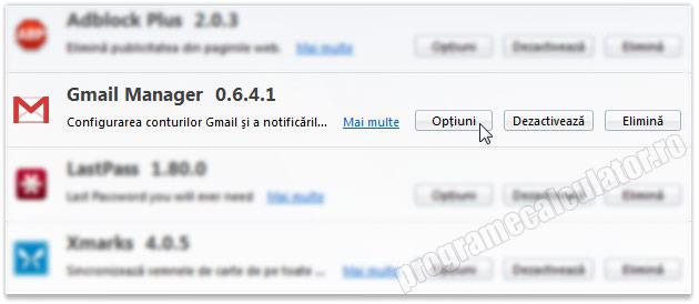 Optiuni de configurare Gmail Manager