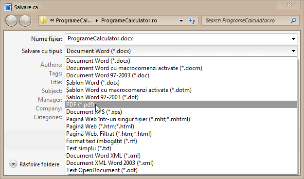 Salvare document Word in format PDF
