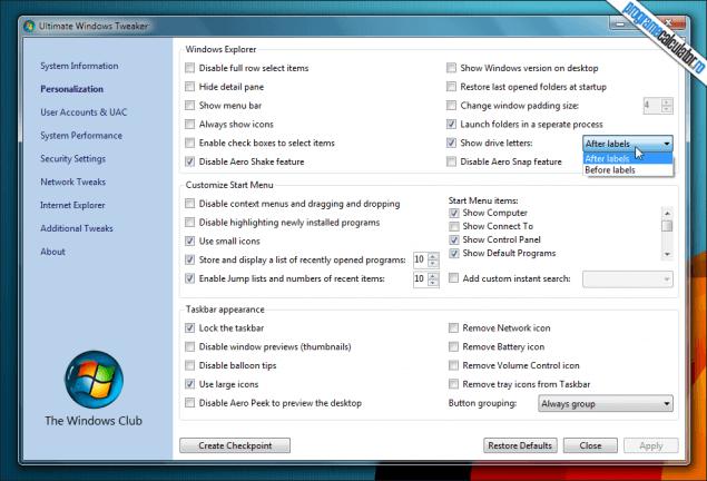 1-TweakUI pentru Windows 7