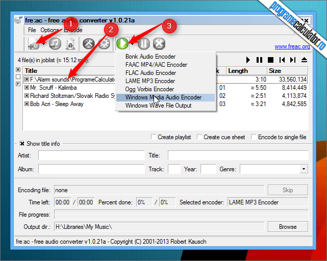 Program de convertit MP3, MP4/M4A, WMA, Ogg Vorbis, FLAC, AAC, WAV, si Bonk