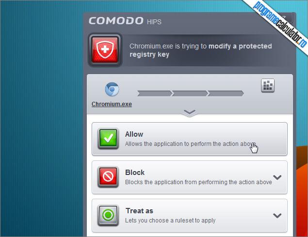 Alerte COMODO Firewall