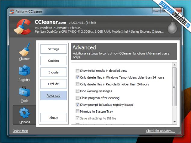 CCleaner pentru Windows 7 Service Pack 1